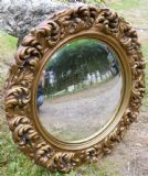 Ornate Gilt Round Convex Hanging Wall Mirror